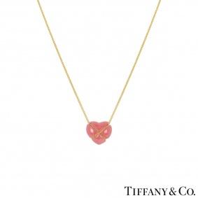 Tiffany & Co 18k Yellow Gold Rose Quartz Pendant